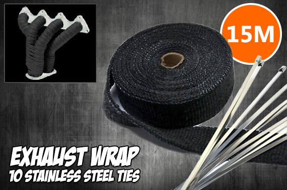 Exhaust Wrap Heat Resistant 15M*50mm + 10 Stainless Steel Ties