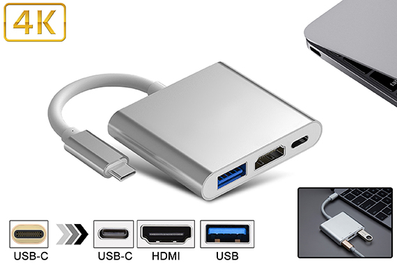 3 in 1 USB 3.1 Type-C HDMI Adapter Hub for MacBook