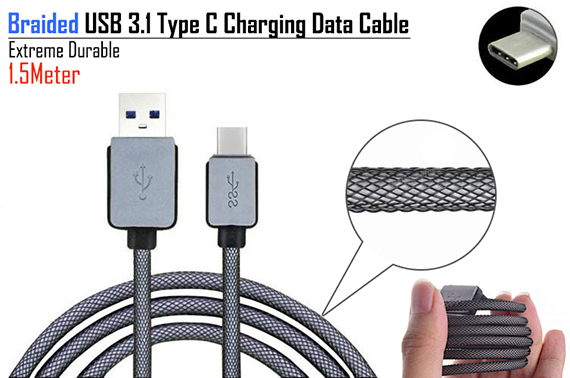 Braided 1.5M USB 3.1 Type C Charging Data Cable