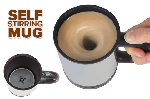 Self-Stirring Coffee Mug with Spill-Proof Lid