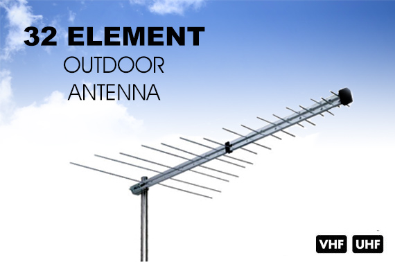 32-Element Digital High Gain Outdoor TV Antenna