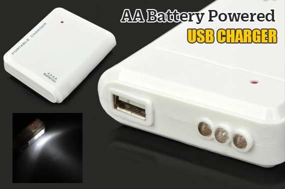 AA Battery Powered Emergency Charger with USB Port