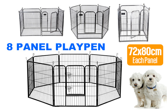 8 Panel Heavy Duty Metal Pets Playpen