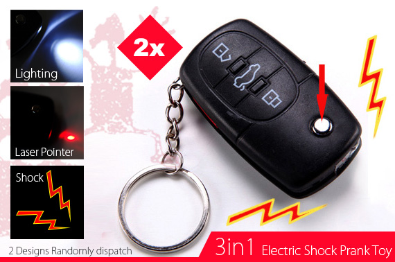 2x 3-in-1 Car Key Shaped Electric Shock Prank Toy