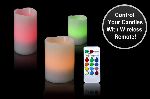 Remote Conrtrolled Colour Changing LED Wax Candle Set