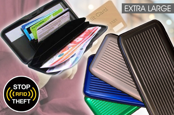 Extra Large Aluminium RFID Blocking Credit Card Wallet with Mirror