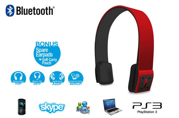 LASER Bluetooth Stereo Headset (Red)