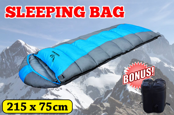 Hooded Envelope Outdoor Sleeping Bag w/ Carry Bag