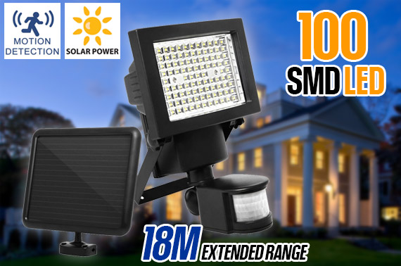100 LED Ultra Bright Solar Motion Detection Sensor Light