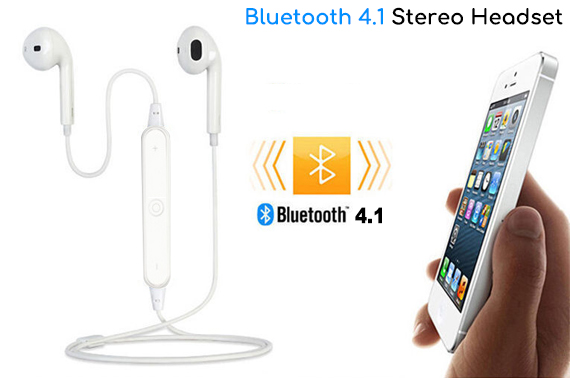 Bluetooth 4.1 Stereo Headset for IOS/Android Phones - White