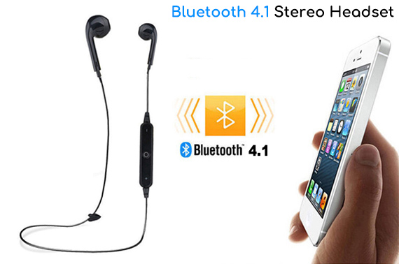 Bluetooth 4.1 Stereo Headset for IOS/Android Phones - Black