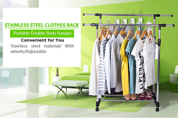 Adjustable Stainless Double Clothes Rack Shelf Hanger Coat Garment Holder