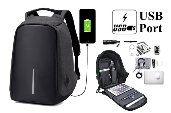 Anti-Theft Laptop Backpack Travel Bag Water Repellent w/ USB Port