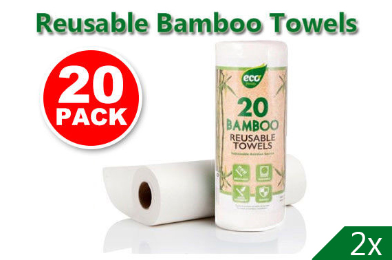 2x 20 PACK Reusable BAMBOO Hand Washable Natural Paper Towel