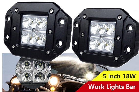 2x 18W 5'' LED Flood Driving Light Bar Lamp For Truck