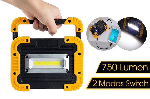 750LM COB LED Work Flood Light w/ USB Power Bank