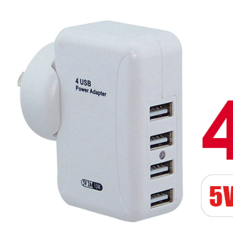 4 Ports USB 2A Power Travel Home Wall Charger Charging Adapter For Smartphone