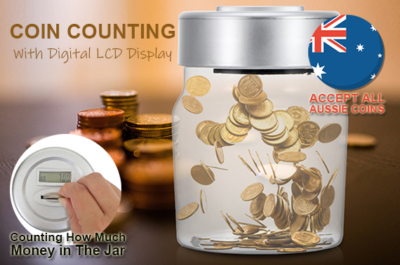 Digital Aussie Coin Counting Money Jar with LCD Display