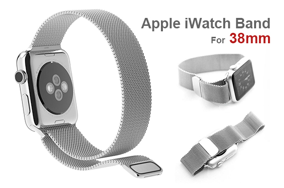 Replacement Watch Band Compatible with Apple Watch Magnetic Loop Stainless Steel