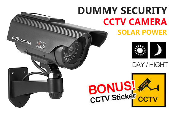 2x Solar Power Dummy Fake CCTV Security Camera w/ LED Light