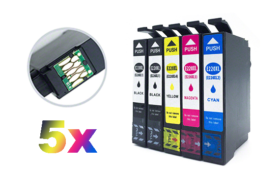 5x Ink Cartridge 220XL Epson Workforce WF- 2630 WF-2650 WF-2660 XP420 320