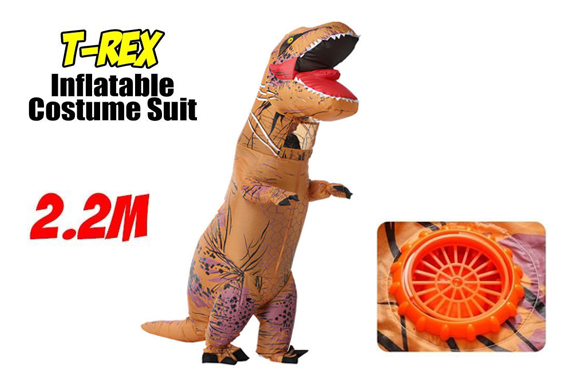 T-Rex Trex Dinosaur Inflatable Costume Suit Adult Jurassic World Park Cosplay