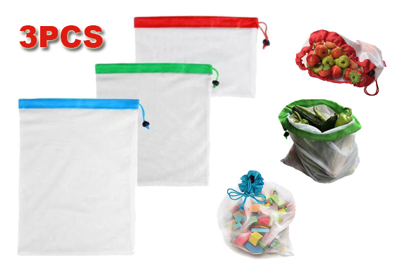 3x Eco Friendly Reusable Mesh Produce Bags Superior Double-Stitched Strength AU