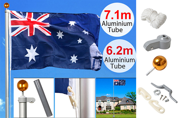 7M Australian Flag Pole Aluminium Full Set