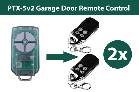 2x PTX-5v2 ATA Garage Door Remote Control TrioCode128 PTX5 Replacement