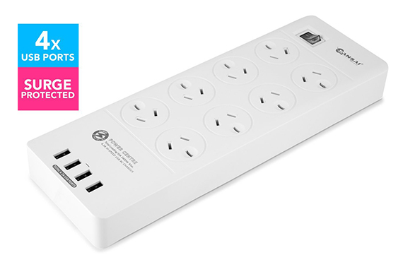Socket 4USB Power Board 8 Way Outlets Charger Ports with Surge Protector