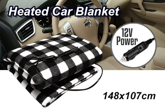12V ELECTRIC HEATED SOFT FLEECE CAR BLANKET