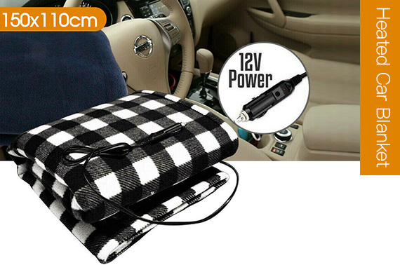AUTO HEATED CAR BLANKET 12 VOLT DC TRAVEL RUG SOFT CARAVAN