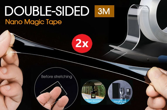 2x 3M Double-Sided Nano Magic Tape Traceless Clear Adhesive Invisible Gel