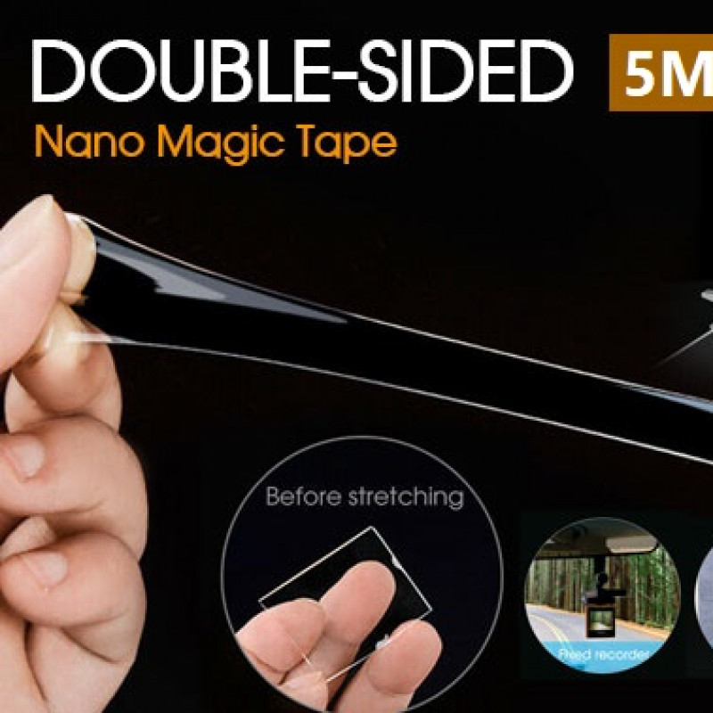 Double-Sided Nano Magic Tape Traceless Clear Adhesive Invisible Gel Anti-Slip AU Length 5 m