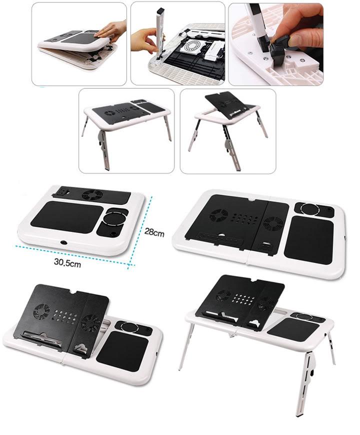Laptop Lap Desk Foldable Table eTable Bed with USB Cooling Fans