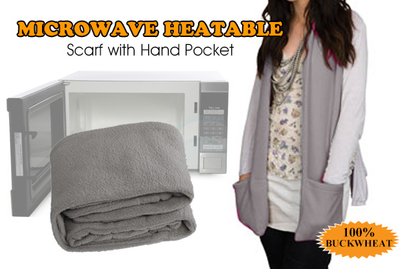 Microwave Heatable Scarf with Hand Pockets