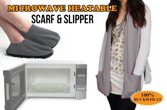 Microwave Heatable Cosy Scarf + 1 Pair Slippers