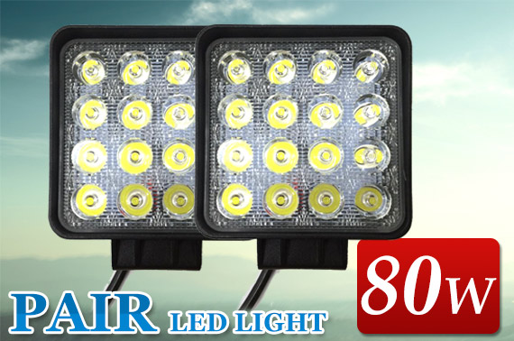 2x 80W LED Work Light Offroad Flood Lamp