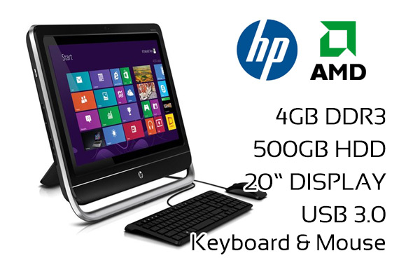 Ex-leased HP Pavilion 20 All-in-One AIO Desktop PC w/ Keyboard & Mouse