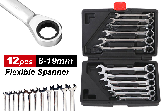 12pcs 8-19mm Fixed Head Ratchet Gear Spanner Wrench CR-V Steel Set