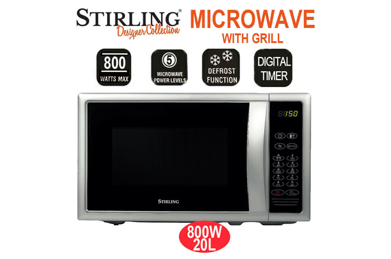 Refurbished Stirling 20L Microwave with Grill Oven 800W 9 Programs 5 Power Levels