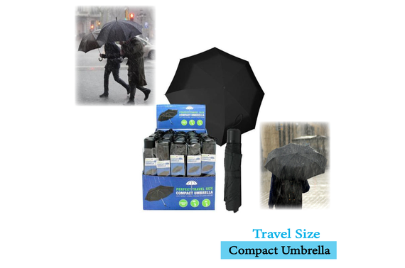 ANTI-UV FOLDING TRAVEL SIZE BLACK UMBRELLA