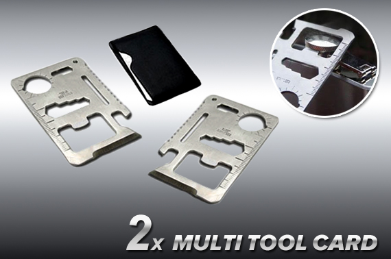2x 11-in-1 Credit Card Size Stainless Steel Survival Multi Tool Card