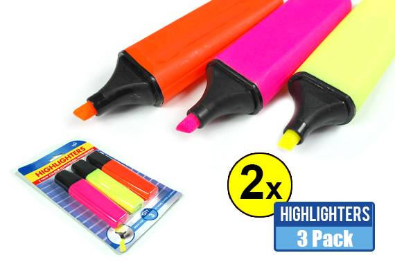 2x Pack of 3 Colour Fluorescent Highlighters