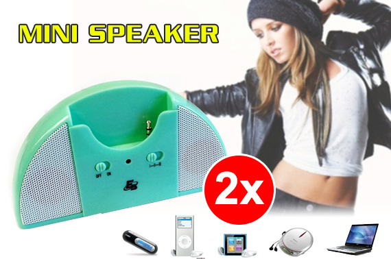 2x Portable Speaker with Sliding Headphone Jack
