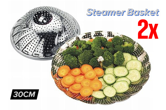 2x Adjustable and Collapsible 30cm Stainless Steel Steamer Basket