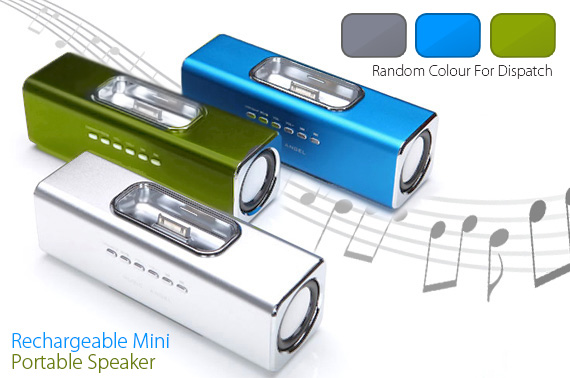 Music Angel - Rechargeable Mini Portable Speaker System with iPhone Dock/USB/Micro SD card Slot